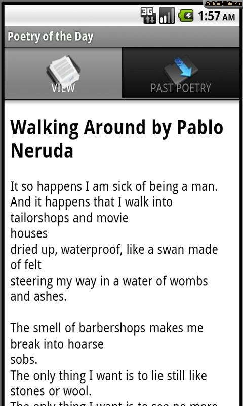 example of vanguard literature in the poem walking around by pablo neruda